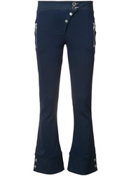 Versace Cropped Trousers Women Polyamide Spandex Elastane Viscose 38 Blue