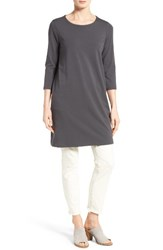 Eileen Fisher Women's Stretch Organic Cotton Jersey Tunic Graphite