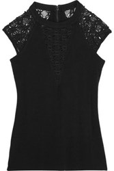 Bailey 44 Lace Paneled Stretch Jersey Top Black