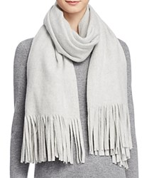 Bloomingdale's C By Solid Scarf With Laser Cut Fringe Gray