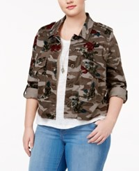 American Rag Plus Size Cropped Camo Floral Print Jacket Only At Macy's Olive Combo