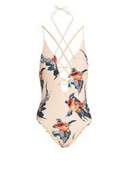 Katie Eary Fish Print Lace Up Swimsuit Beige Multi