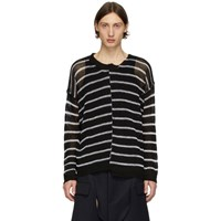 Isabel Benenato Black And White Half Collar Oversized Sweater