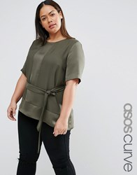 Asos Curve Satin Matt And Shine Asymmetric Tee With Tie Waist Khaki Green