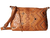 American West Nomad Heart Zip Top Crossbody Tan Cross Body Handbags