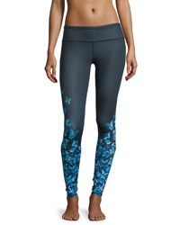 Alo Yoga Airbrush Butterfly Print High Waisted Sport Leggings Navy