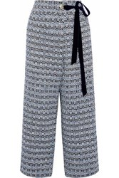 Mother Of Pearl Wrap Effect Cropped Cotton Blend Tweed Wide Leg Pants Black