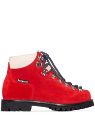 Proenza Schouler Lace Up Hiking Ankle Boots Red