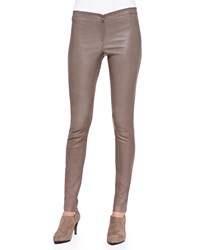 Alice Olivia Front Zip Leather Leggings Grey