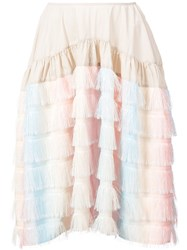 Jourden Fringed Rainbow Skirt Polyester Nylon Multicolour
