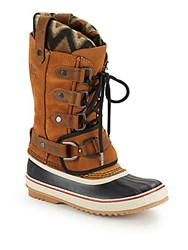 Sorel Leather Round Toe Boots Elk Black