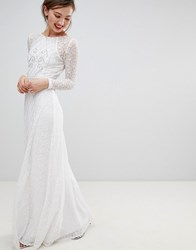 Frock And Frill Long Sleeve Lace Maxi Dress With Embellished Detail White