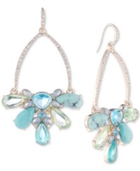 Carolee Gold Tone Pave And Multi Stone Drop Hoop Earrings Lt Blue