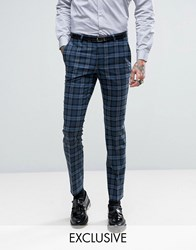 Noose And Monkey Super Skinny Suit Trousers In Check Blue