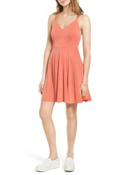Soprano Women's Cross Back Fit And Flare Dress Terra Cotta