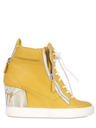 Giuseppe Zanotti 90Mm Tumbled Leather Wedge Sneakers