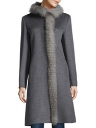 Cinzia Rocca Fox Fur And Wool Coat Grey