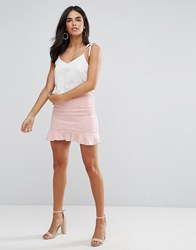 Ax Paris Pink Suede Frill Hem Mini Skirt