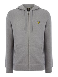 Lyle And Scott Zip Through Hooded Sweatshirt Mid Grey Marl