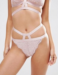 Asos Belle Strappy Lace Thong Blush Pink