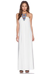 T Bags Losangeles Tribal Halter Maxi Dress White