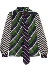 Mary Katrantzou Veddar Pussy Bow Printed Silk Georgette Blouse Green