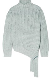 Sies Marjan Nancy Asymmetric Ribbed Cashmere And Wool Blend Turtleneck Sweater Blue