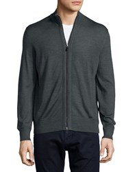 Ermenegildo Zegna High Collar Full Zip Cardigan Dark Gray