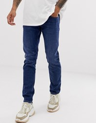 Replay Anbass Stretch Slim Fit Jeans In Dark Wash Blue