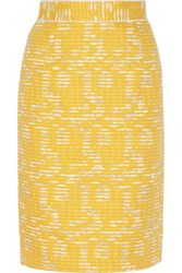 Oscar De La Renta Cotton Blend Tweed Pencil Skirt Marigold