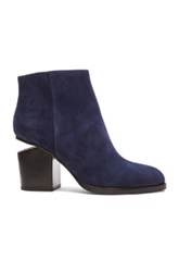 Alexander Wang Gabi Suede Ankle Booties In Blue