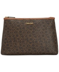 Calvin Klein Monogram Large Cosmetics Case Brown Khaki Luggage Saffiano