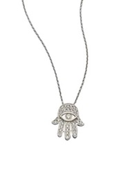 Roberto Coin Tiny Treasures Diamond And 18K White Gold Hamsa Pendant Necklace