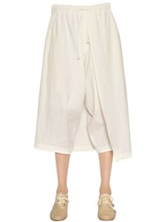 Y's Cropped Cotton Linen Pants