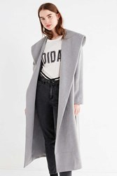 Urban Outfitters Uo Hooded Long Wool Coat Light Grey