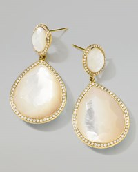 Ippolita 18K Gold Rock Candy Teardrop Earrings In Mother Of Pearl With Diamonds Oyster