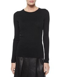 St. John Lightweight Textured Knit Sweater Caviar Black