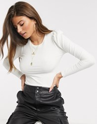 Stradivarius Ribbed Jersey Top With Puff Sleeves In White