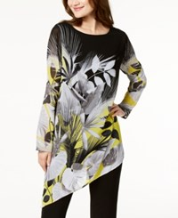Alfani Petite Printed Asymmetrical Tunic Created For Macy's Mixed Leaves