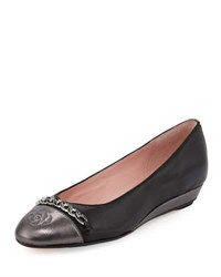 Taryn Rose Paola Leather Comfort Flat Black Metallic