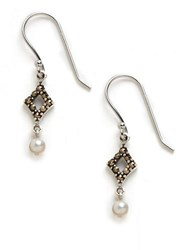 Lord And Taylor Sterling Silver Marcasite Drop Earrings Multi