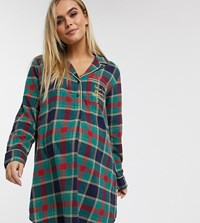 Chelsea Peers Maternity Popper Front Check Night Dress Green