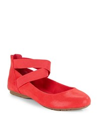 Anne Klein Itcanbe Ankle Strap Flats Red