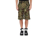Givenchy Men's Camouflage And Money Print Shorts Dark Green