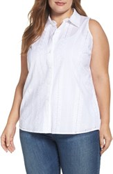Vince Camuto Plus Size Women's Eyelet Embroidered High Low Shirt