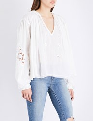 Free People Tropical Summer Hooded Cotton Top Ivory