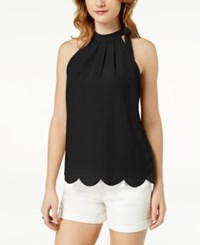 Maison Jules Scalloped Faux Tie Top Created For Macy's Deep Black