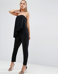 Asos Bandeau Jumpsuit With Ruffle Overlay Black