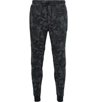 Nike Tapered Camouflage Print Cotton Blend Tech Fleece Weatpant Gray