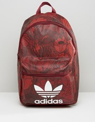 Adidas Originals Floral Print Backpack With Trefoil Logo Red